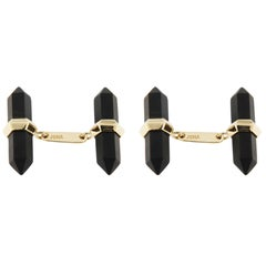 Jona Glazed Onyx 18k Yellow Gold Prism Bar Cufflinks