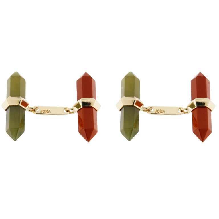 Jona Carnelian Moss Agate Yellow Gold Prism Bar Cufflinks