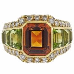 Bulgari Citrine Peridot Diamond Gold Ring