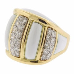 David Webb Diamond Enamel Gold Platinum Ring