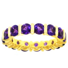 1960s Amethyst and Gold Eternity Band