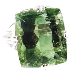 20.35 Carat Amazing Green Beryl Sterling Silver Cocktail Ring