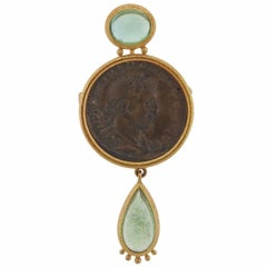 Elizabeth Locke Ancient Coin Beryl Gold Brooch