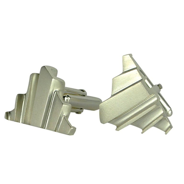 Emer Roberts Architectural Art Deco Silver Cufflinks For Sale
