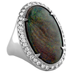 8.00 Carat Oval Black Opal Diamond Gold Ring