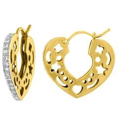 Open Heart Side-Ways Diamond Gold Earrings
