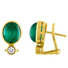 Kurt Wayne 7.03 Carat Cabochon Emerald Diamond Gold Earrings