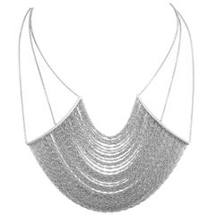 Italian White Gold Opera Curtain Chain Necklace
