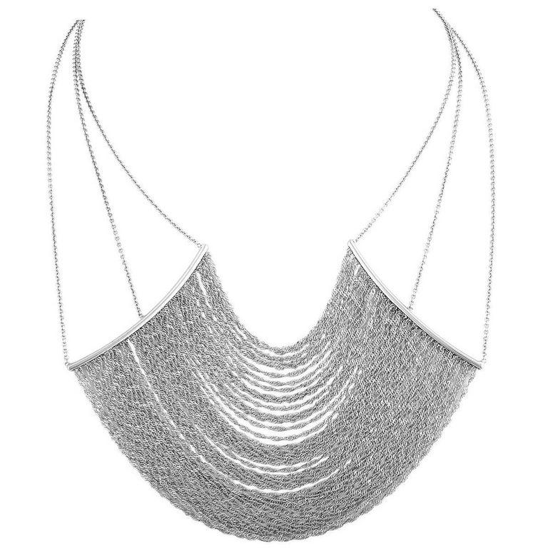 Italian White Gold Opera Curtain Chain Necklace