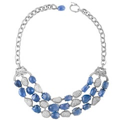 Italian 180.00 Carat Sapphire and Diamond Gold Necklace