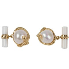 Snake Cufflinks in Gold, Pearl and White Agate