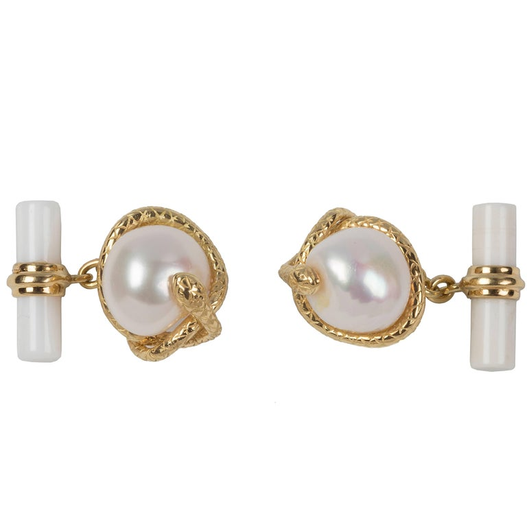 Snake Cufflinks in 18 Karat  Yellow Gold, Pearl and White Agate