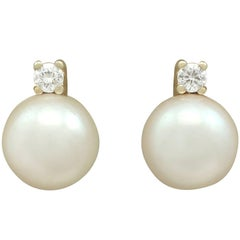 1970s Cultured Pearl and Diamond Yellow Gold Stud Earrings