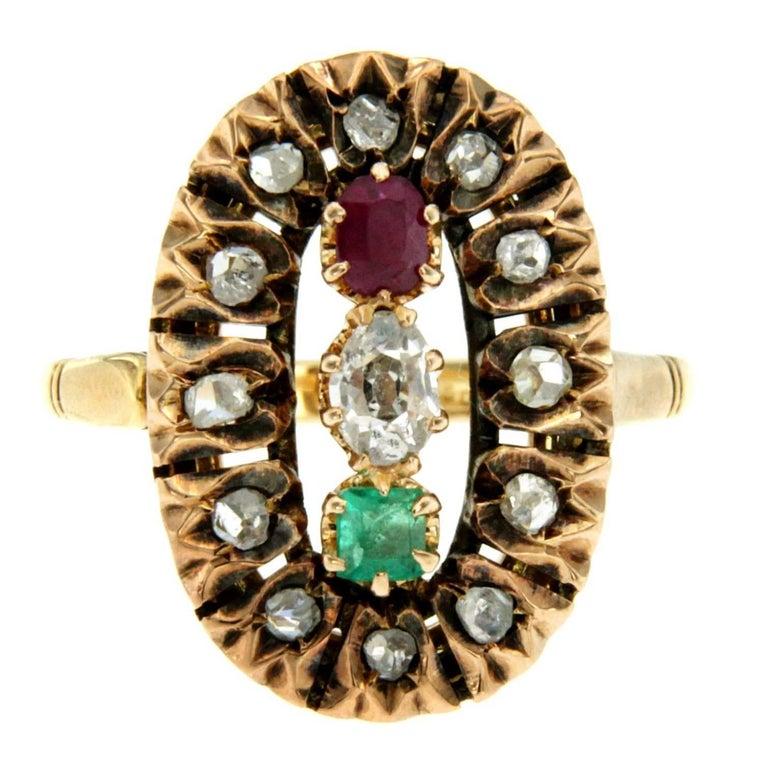 Antique Italian Tricolor Gold Ring