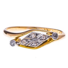 Early 20th Century 18 Carat Yellow Gold and Platinum Diamond Ring