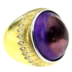 Amethyst Gold Diamond Cocktail Ring