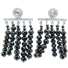 Timeless One-of-a-Kind Black and White Diamond White Gold Chandelier Earrings