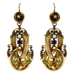 Antique Neapolitan Gold Earrings