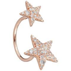 Two Stars 56 White Diamonds 0.81 Carat 18 Karat Rose Gold Ring