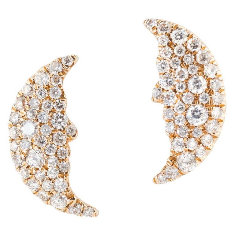 Moon Shaped 18 Karat Yellow Gold and 0.50 Carat White Diamond Ear Studs