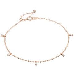 5 White Diamonds 0.2 Carat 18 Karat Rose Gold Bracelet