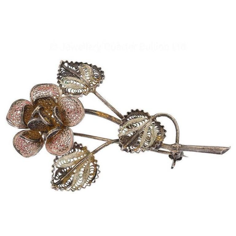 Vintage German Silver Flower Brooch