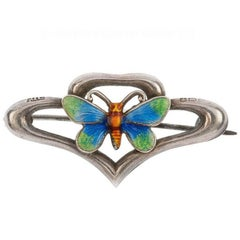 Late Art Nouveau 1920 Sterling Silver Enamelled Butterfly Brooch