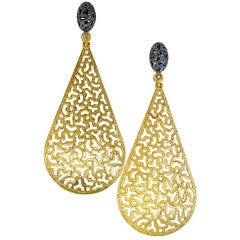 Alex Soldier Diamond Textured Open Work Gold Drop Dangle Earrings