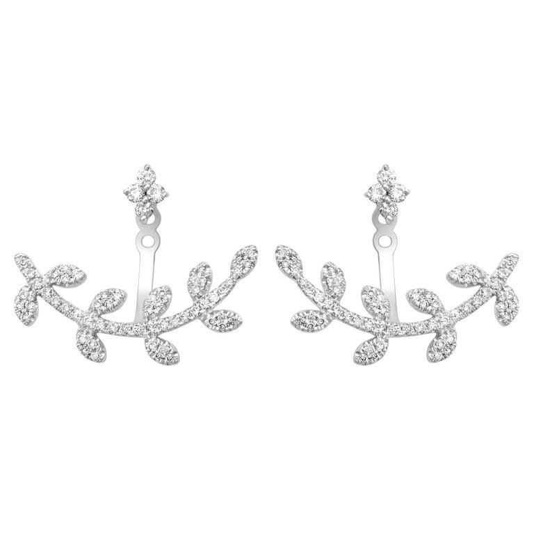 122 White Diamonds 0.51 Carat 18 Karat White Gold Two Ear Studs