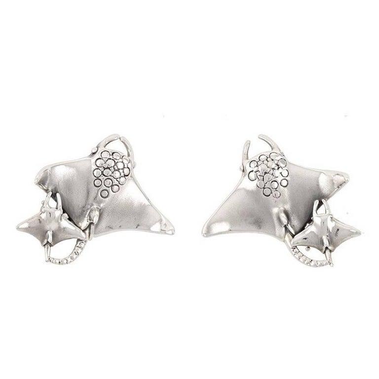 Sterling Silver Manta Ray Earrings by John Landrum Bryant