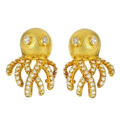18 Karat Yellow Gold 2.7 Carat Diamond OCTOPUS Earrings by John Landrum Bryant