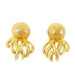 Oval Diamond Eyes 18k Gold Octopus Earrings by John Landrum Bryant