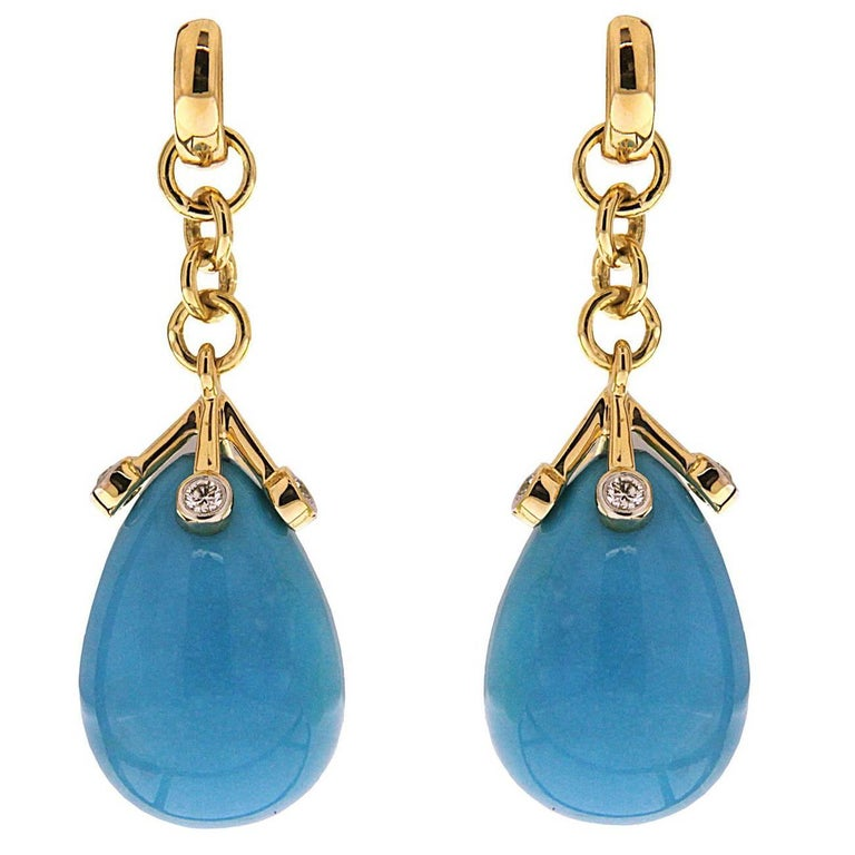 Turquoise Drop and Diamond Earrings 1