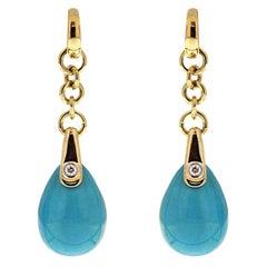 Turquoise Drop Earrings with Diamond