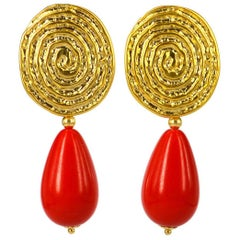 Decadent Jewels Red and Gold Earrings
