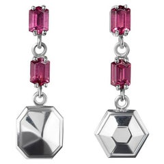 Rhodolites and Sterling Silver Puzzle Earrings '6'