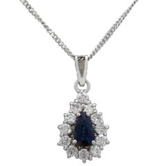 Vintage Sapphire and Diamond, White Gold Cluster Pendant, 1960s