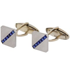 Art Deco French Cut Sapphire Platinum Gold Cufflinks