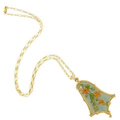 Eugène Feuillâtre French Art Nouveau Gold and Enamel Floral Pendant Necklace