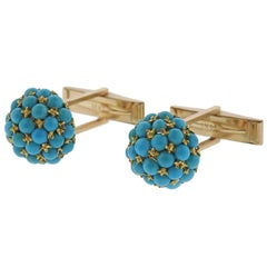 1960s Turquoise Gold Cufflinks