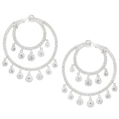 Fashionable Round Brilliant Diamond Chandelier Earrings