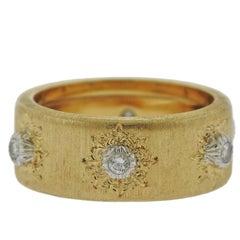 Buccellati Diamond 18 Karat Gold Wedding Band Ring