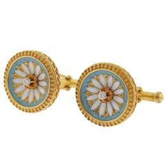 Antique Victorian Diamond Enamel Gold Cufflinks