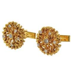1970s Naturalistic Diamond Gold Cufflinks