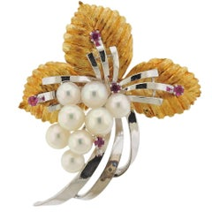Mikimoto Pearl Ruby Gold Brooch Pin