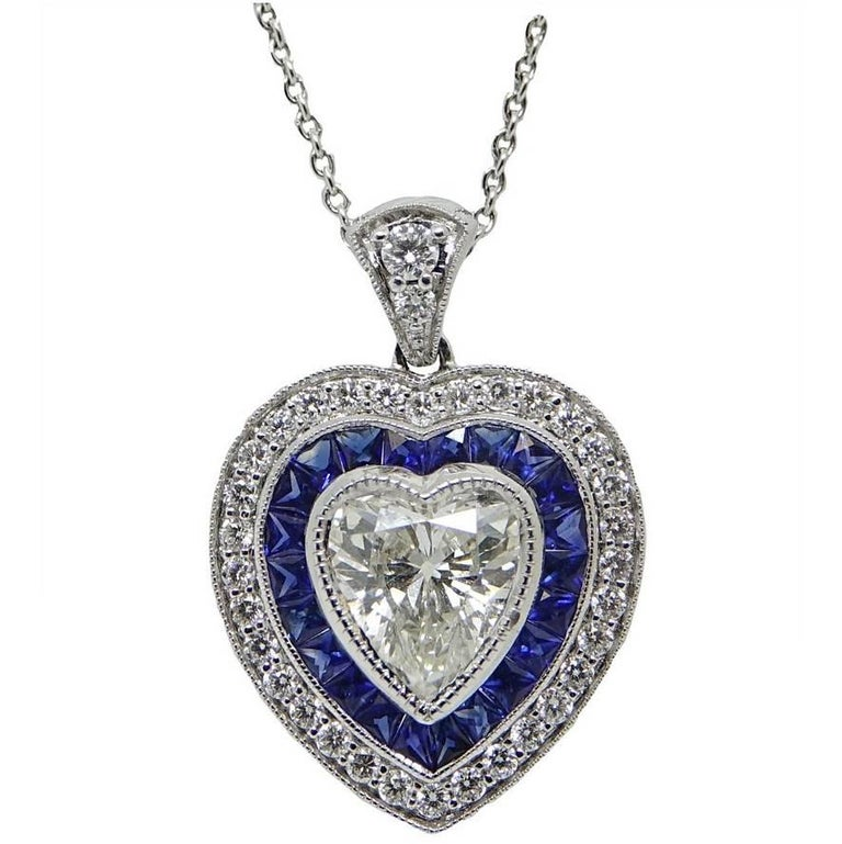 Heart shaped 157 carat diamond and sapphire heart pendant heart shaped 157 carat diamond and sapphire heart pendant necklace for sale aloadofball Image collections