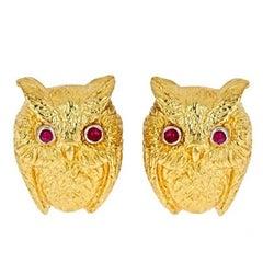 Ruby Eyes 18 Karat Yellow Gold and Platinum Owl Earrings by John Landrum Bryant