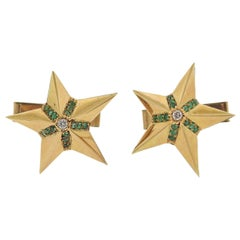 Midcentury Diamond Emerald Gold Star Cufflinks