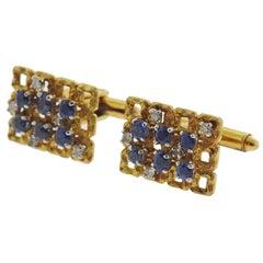1970s Sapphire Diamond Gold Cufflinks
