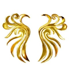 18 Karat Yellow Gold Phoenix Earrings by John Landrum Bryant